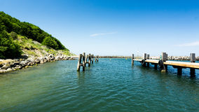 Pier of the harbor. In Lohme Stock Images