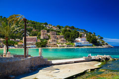 Pier in the harbour of Port de Soller Stock Images