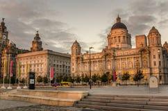 Pier Head bei Sonnenuntergang, Liverpool Stockbild