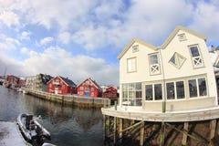 Pier of  Henningsvaer in wintertime Stock Image