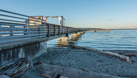 Pier At High Tide. A view of the fishing pier in Dash Point, Washington at high tide Royalty Free Stock Photo