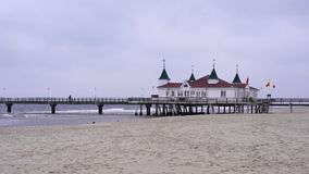 The pier of the historic Kaiserbad Ahlbeck. The pier from the historic Kaiserbad Ahlbeck was taken from the beach stock video