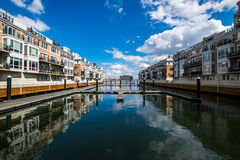 Pier Homes Waterfront in Federal Hill in Batimore, Maryland.  Royalty Free Stock Photo