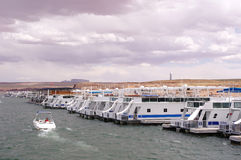 Pier for houseboats in Lake Powell Stock Image