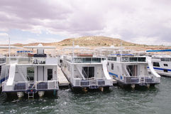 Pier for houseboats in Lake Powell Stock Photo