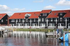 Pier houses in the Reitdiephaven Royalty Free Stock Photography