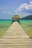 Pier Hut, Guatemala. Lago Peten Itza, Peten, Guatemala, Central America Stock Photo