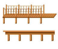 Pier is an illustration of piers in silhouette, in black and white lines and in color. stock illustration