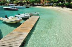 Pier in Insel St. Joan Lizenzfreie Stockfotos