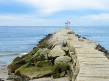 Pier int he USA, Kennebunk, Maine. stock images