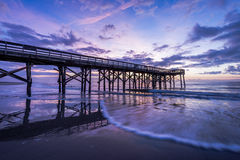 Pier at Ise of Palms Beach, in Charleston South Carolina at Sunr. Ise royalty free stock image