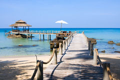 Pier in island Koh Kood. Wooden pier in island Koh Kood , Thailand Royalty Free Stock Photos