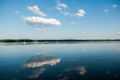 Pier in Kauno marios lagoon. Landscape in Linthuania near Kauno marios lagoon Stock Image