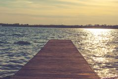 Pier on the lake royalty free stock photography