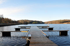 Pier at the lake. In Sweden Stock Photo