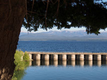 Pier on lake stock photography