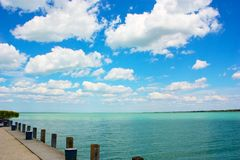 Pier on Lake Balaton Stock Images