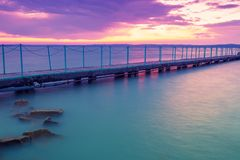 Pier on the lake Balaton stock photo