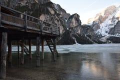 Pier lake braies mountains dolomites italy south tyrol Royalty Free Stock Photos