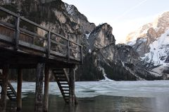 Pier lake braies mountains dolomites italy south tyrol Royalty Free Stock Photo