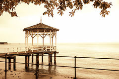 Pier at lake constance, sepia toned Royalty Free Stock Image