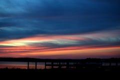 Pier at dusk royalty free stock photo