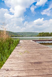 Pier at Lake Echternach in Luxembourg Royalty Free Stock Photos