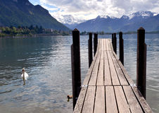 Pier in Lake Geneva Royalty Free Stock Photo