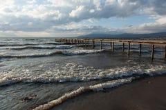 Pier on the lake Stock Photo