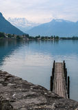 Pier on a lake. Pier, located on lake Leman, near Chillon castle, Switzerland Stock Images