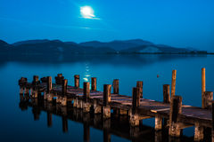 The pier at the lake Massaciuccoli Royalty Free Stock Photo