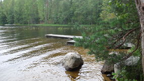 Pier at the lake. Pier on the lake next to the cottage for a weekend getaway. Lake Saimaa. Finland Stock Image