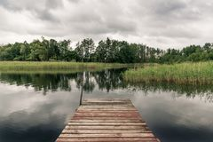 Pier on a lake Royalty Free Stock Images