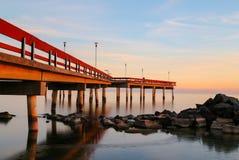 Pier on Lake Ontario at Sunset Stock Photos