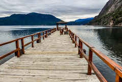 Pier on the lake, Road of the Seven Lakes, Argentina Royalty Free Stock Image