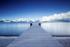 Pier Lake Tahoe Snowy lizenzfreie stockfotos