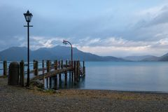 Pier at Lake Wakatipu, Queenstown, New Zealand Stock Photography