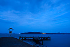 Pier in Lam Ya cape in evening Royalty Free Stock Images