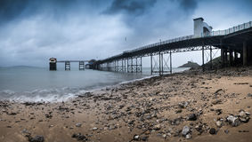 Pier landscape panorama on moody sky day Royalty Free Stock Photography
