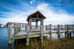 Pier in the Lewes and Rehoboth Canal, in Lewes, Delaware. royalty free stock images