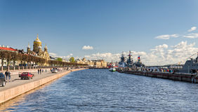 The pier of the the Lieutenant Schmidt embankment with moored warships. Royalty Free Stock Photos