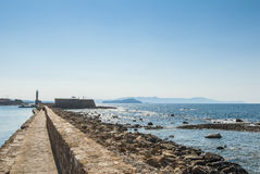 Pier and lighthouse Chania Crete Royalty Free Stock Images