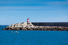 Pier with Lighthouse at Sagres, Portugal Stock Images