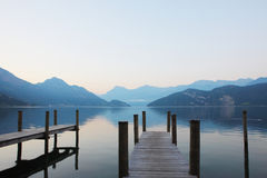 Pier in Lucerne lake Royalty Free Stock Photo