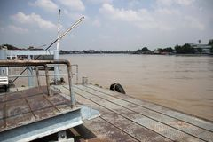 Pier for mooring or pontoon for landing the boat. royalty free stock photography