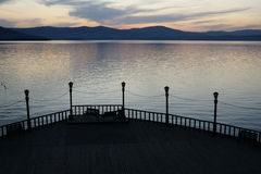 Pier at a mountain lake. Turgoyak, Southern Ural, Russia Stock Images