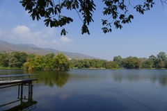Pier, mountain and the pond in the park Stock Image