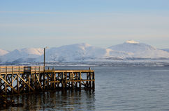 Pier and mountain Royalty Free Stock Image