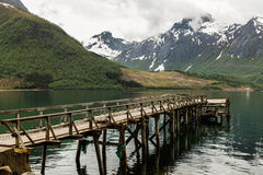 Pier in the mountains in Norway Stock Photos