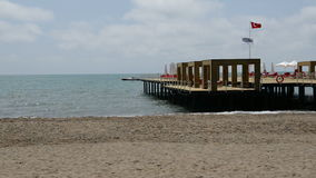The pier near beach at the luxury hotel. Antalya, Turkey stock video footage
